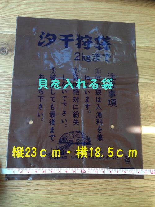 竹島海岸で潮干狩り_貝を入れる袋