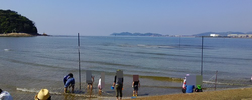 竹島海岸で潮干狩り_潮干狩り開始前